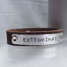 "Lovely Handmade Personalised Dr Who ""EXTERMINATE!..."" Leather Cuff Bangle"